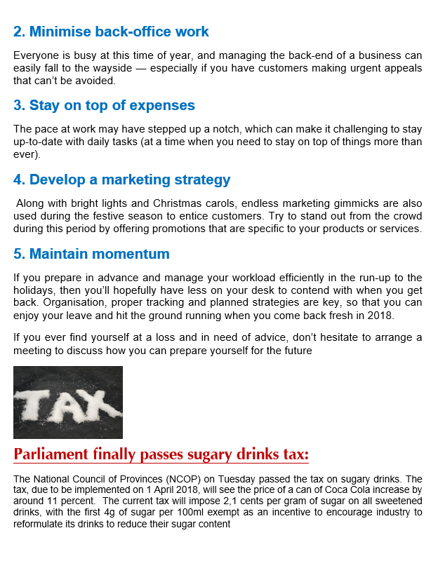 Wwts Newsletter Dec Leave Sugar Taxes Cbc World Wide Tax